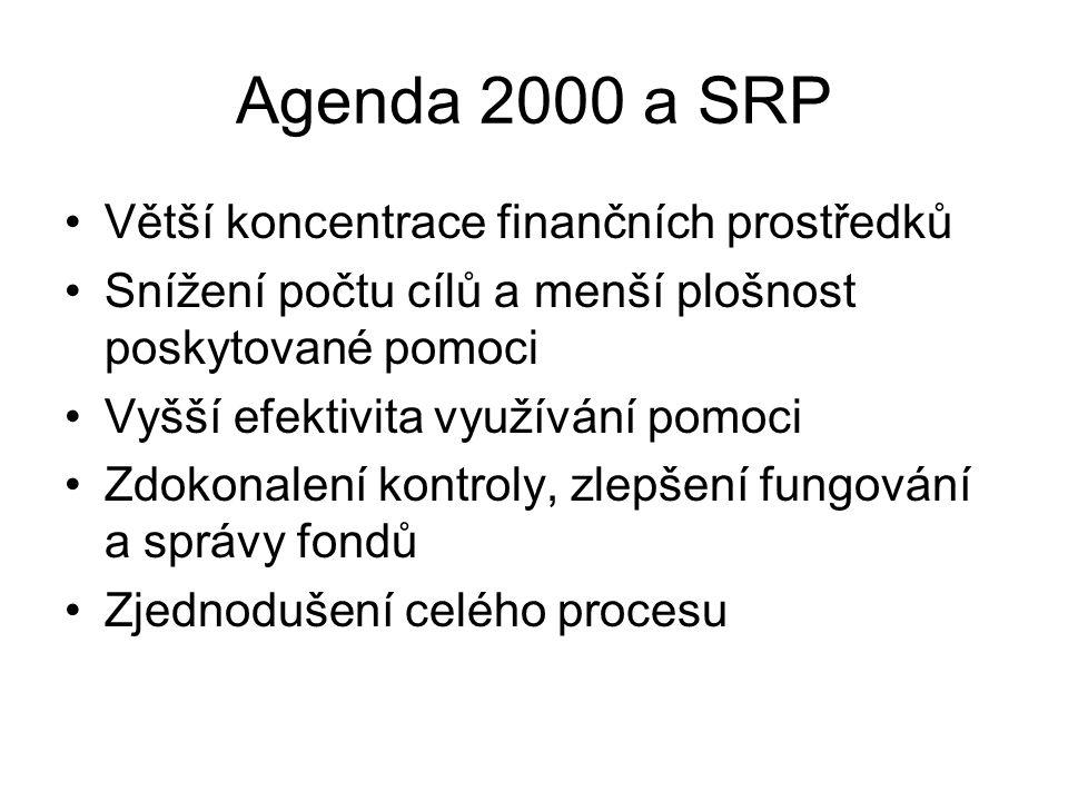 Agenda 2000 a SRP Větší koncentrace finančních prostředků