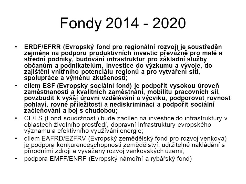 Fondy 2014 - 2020