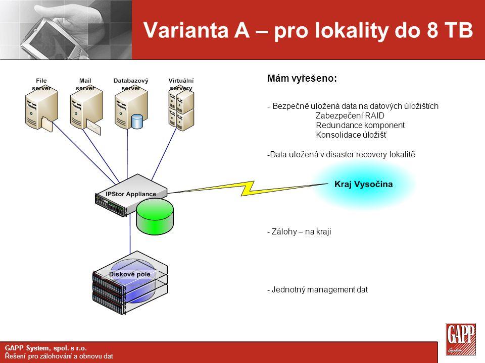 Varianta A – pro lokality do 8 TB