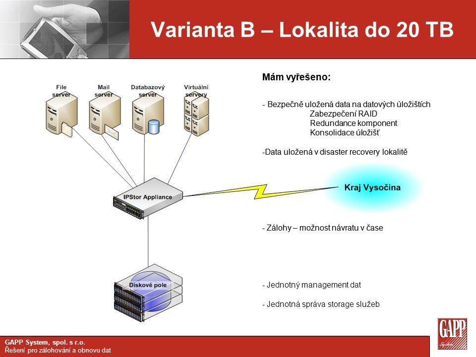 Varianta B – Lokalita do 20 TB