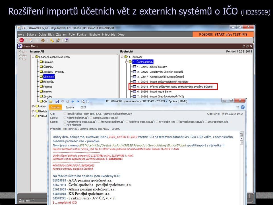 Rozšíření importů účetních vět z externích systémů o IČO (HD28569)