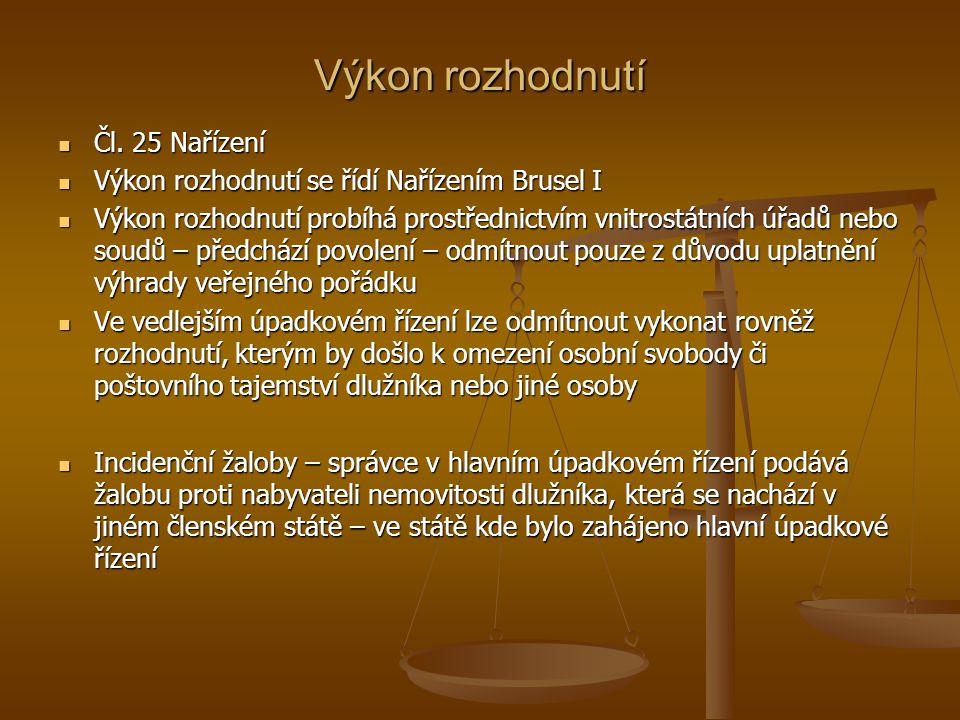 Výkon rozhodnutí Čl. 25 Nařízení