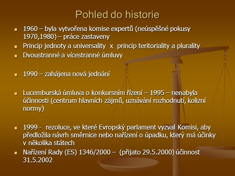 Pohled do historie 1960 – byla vytvořena komise expertů (neúspěšné pokusy 1970,1980) – práce zastaveny.