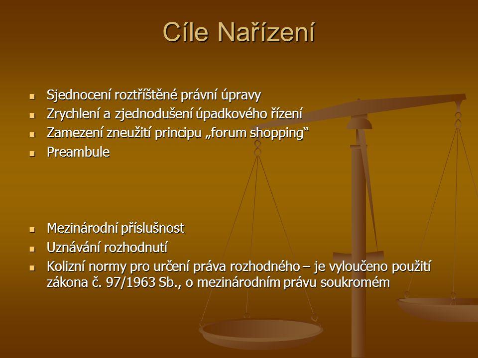Cíle Nařízení Sjednocení roztříštěné právní úpravy