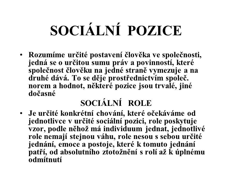 SOCIÁLNÍ POZICE SOCIÁLNÍ ROLE