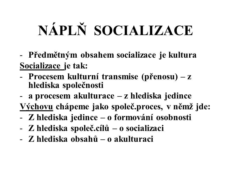 NÁPLŇ SOCIALIZACE Předmětným obsahem socializace je kultura