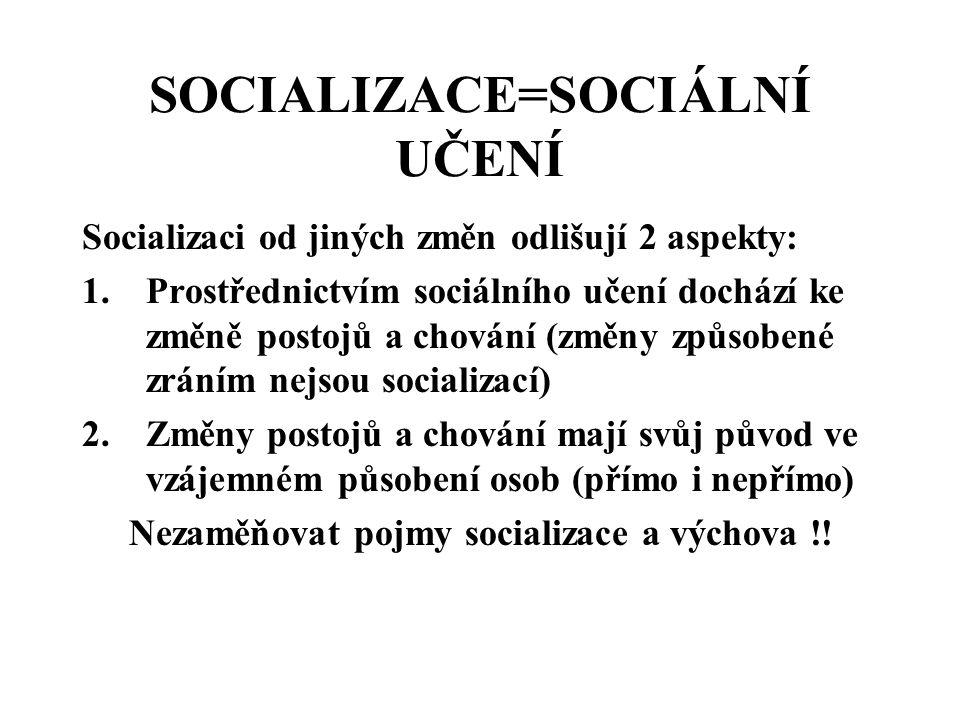 SOCIALIZACE=SOCIÁLNÍ UČENÍ