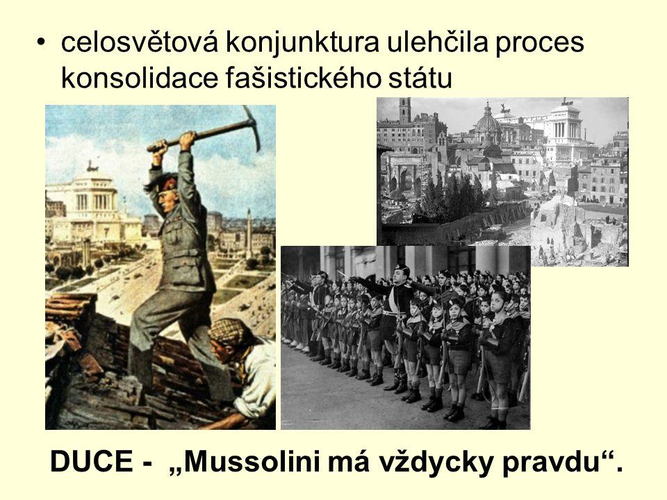 celosvětová konjunktura ulehčila proces konsolidace fašistického státu