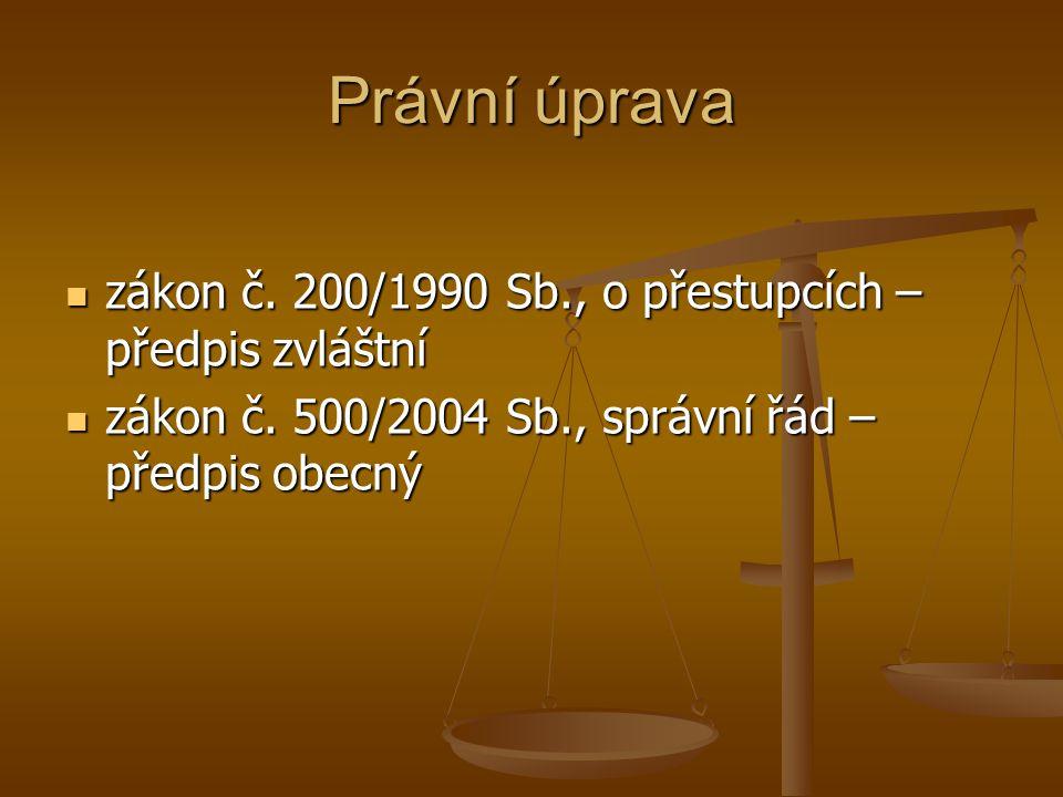 Právní úprava zákon č. 200/1990 Sb., o přestupcích – předpis zvláštní