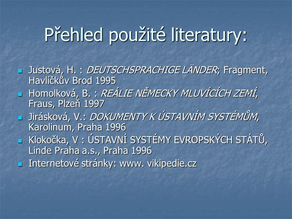 Přehled použité literatury: