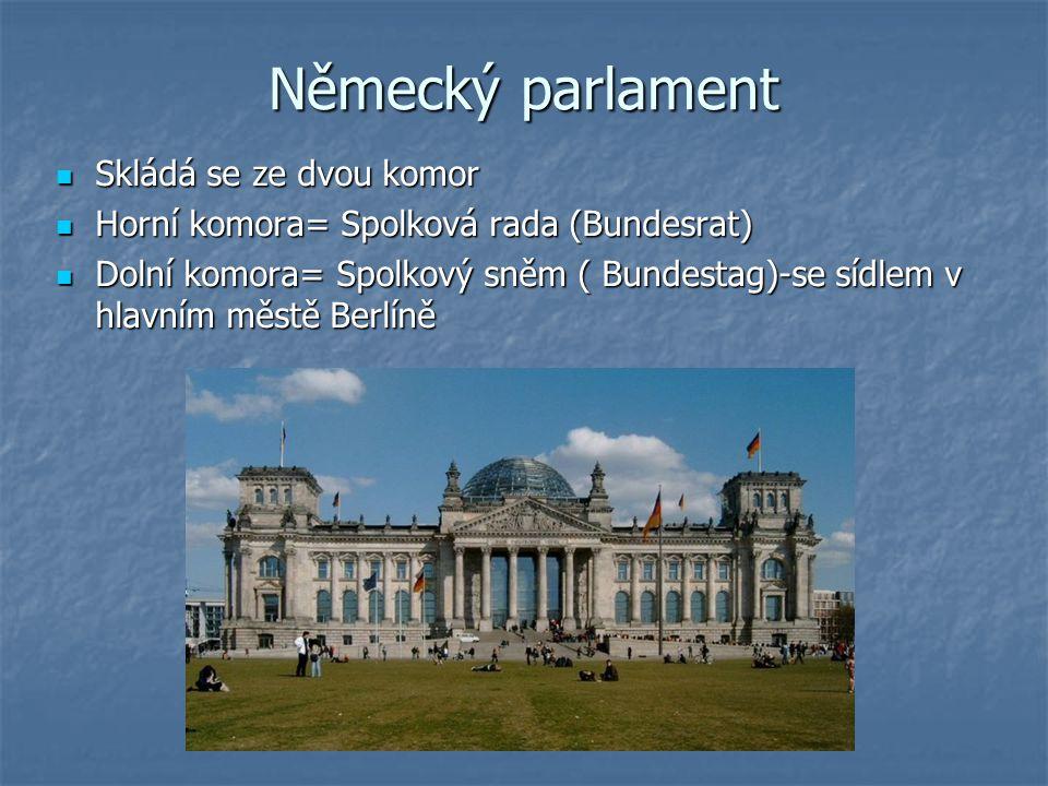 Německý parlament Skládá se ze dvou komor