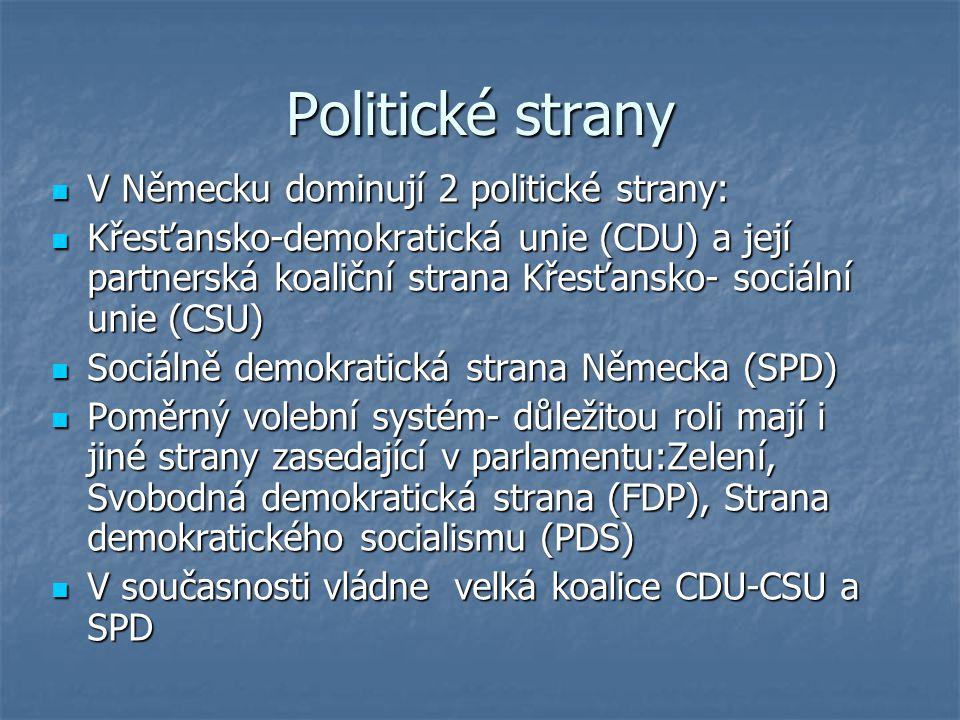 Politické strany V Německu dominují 2 politické strany: