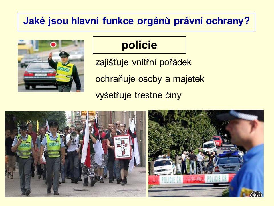 Jaké jsou hlavní funkce orgánů právní ochrany