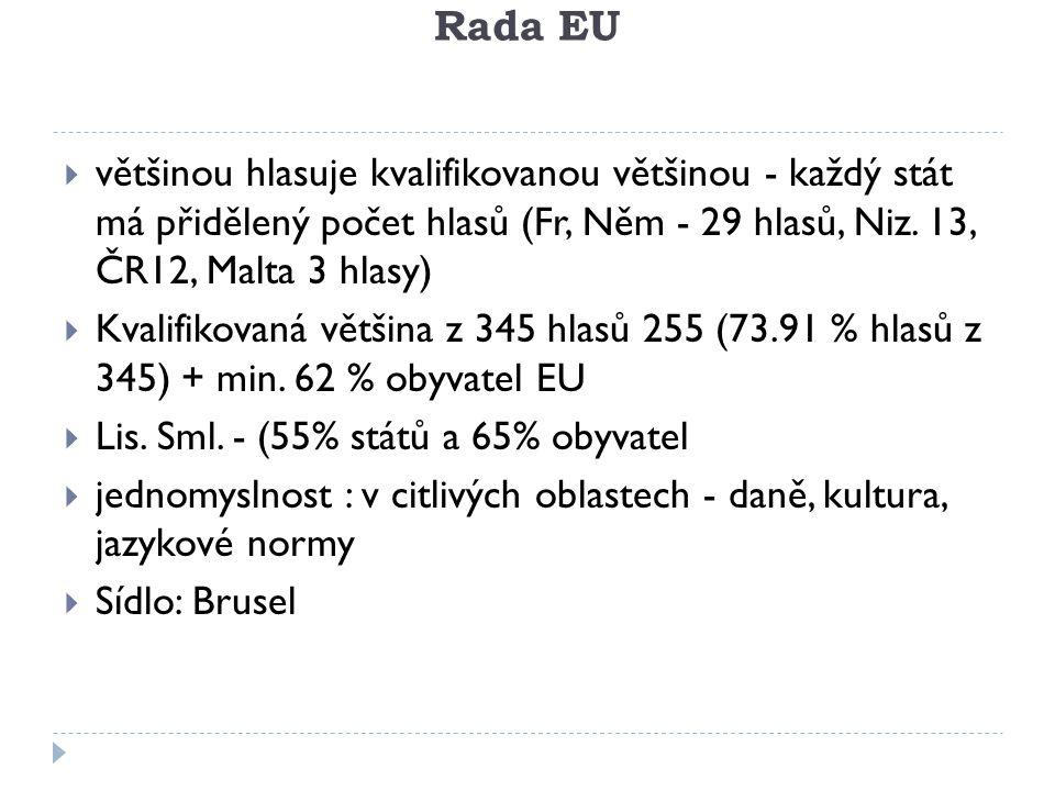 Rada EU většinou hlasuje kvalifikovanou většinou - každý stát má přidělený počet hlasů (Fr, Něm - 29 hlasů, Niz. 13, ČR12, Malta 3 hlasy)