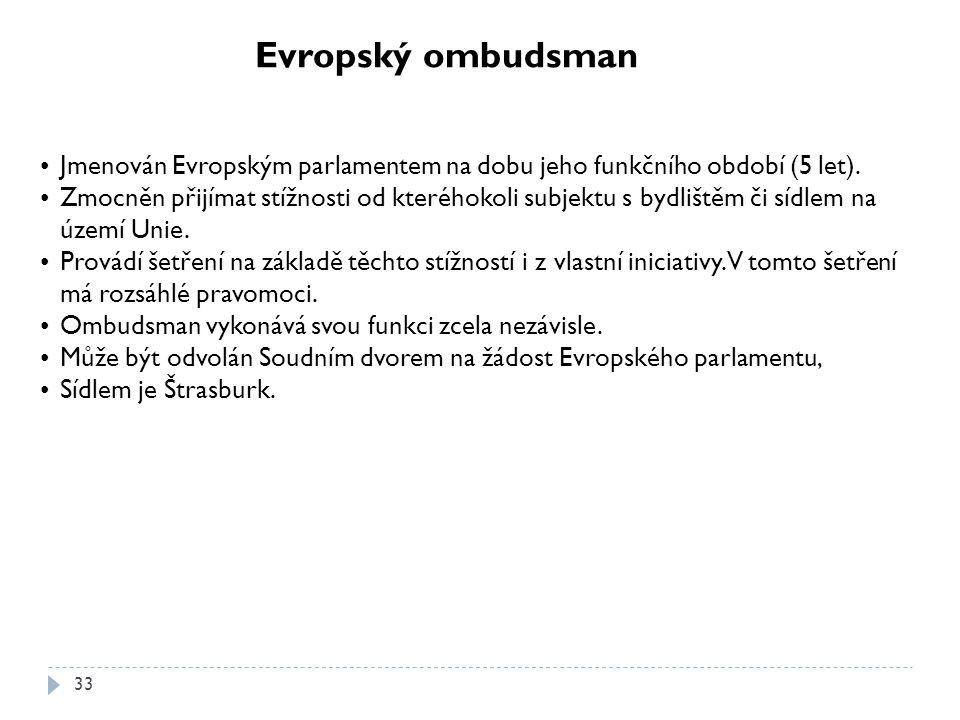 Evropský ombudsman Jmenován Evropským parlamentem na dobu jeho funkčního období (5 let).