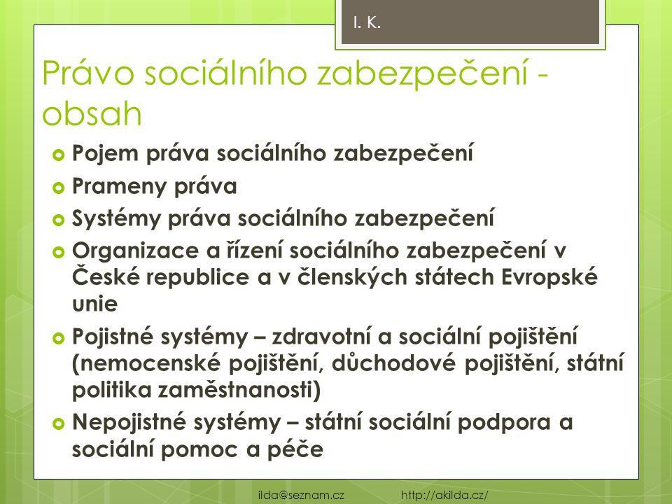 Právo sociálního zabezpečení - obsah