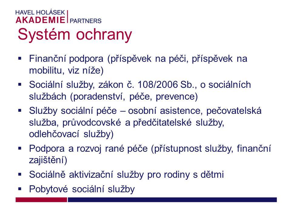 Systém ochrany Finanční podpora (příspěvek na péči, příspěvek na mobilitu, viz níže)