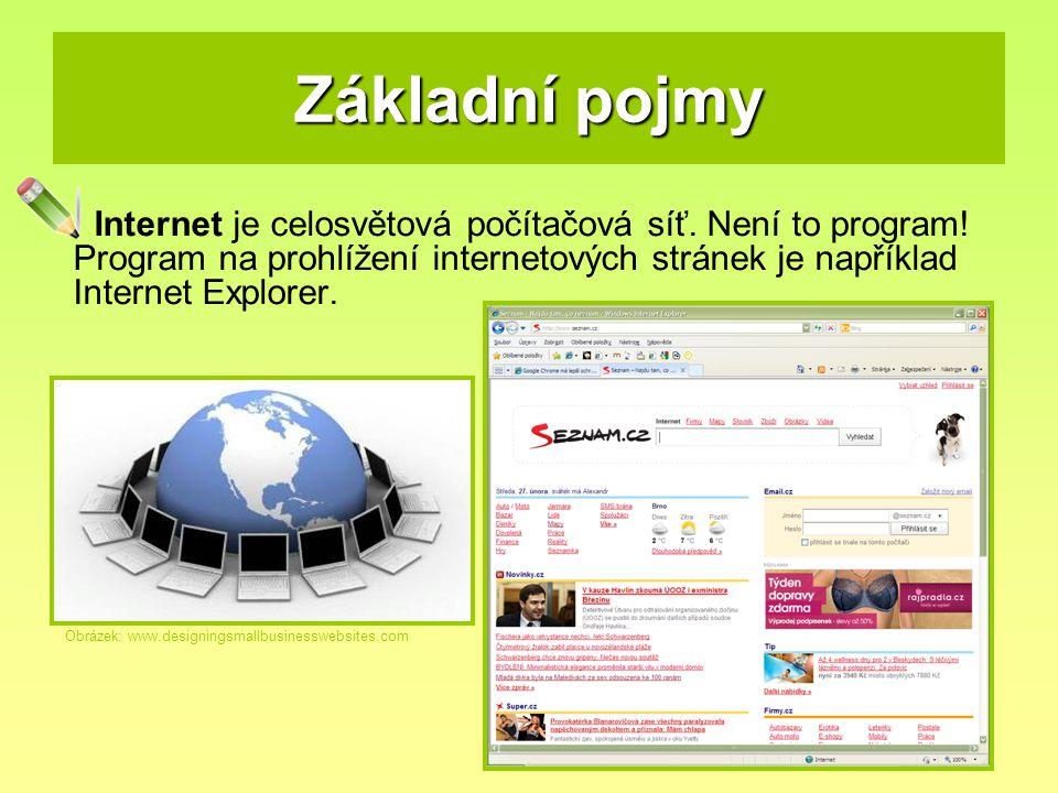 Základní pojmy Internet je celosvětová počítačová síť. Není to program! Program na prohlížení internetových stránek je například Internet Explorer.