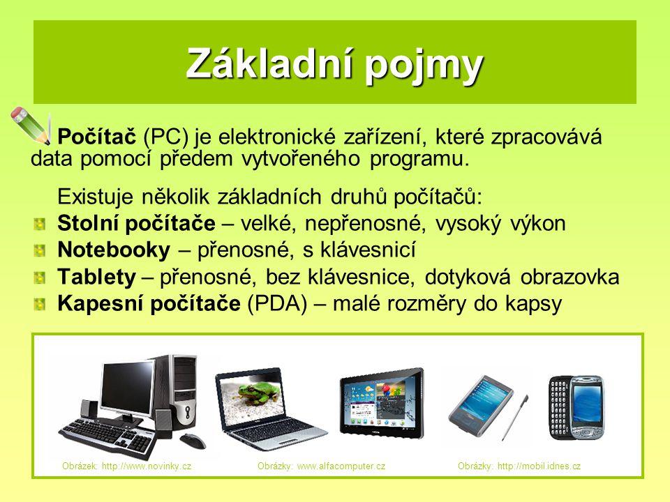Základní pojmy Počítač (PC) je elektronické zařízení, které zpracovává data pomocí předem vytvořeného programu.