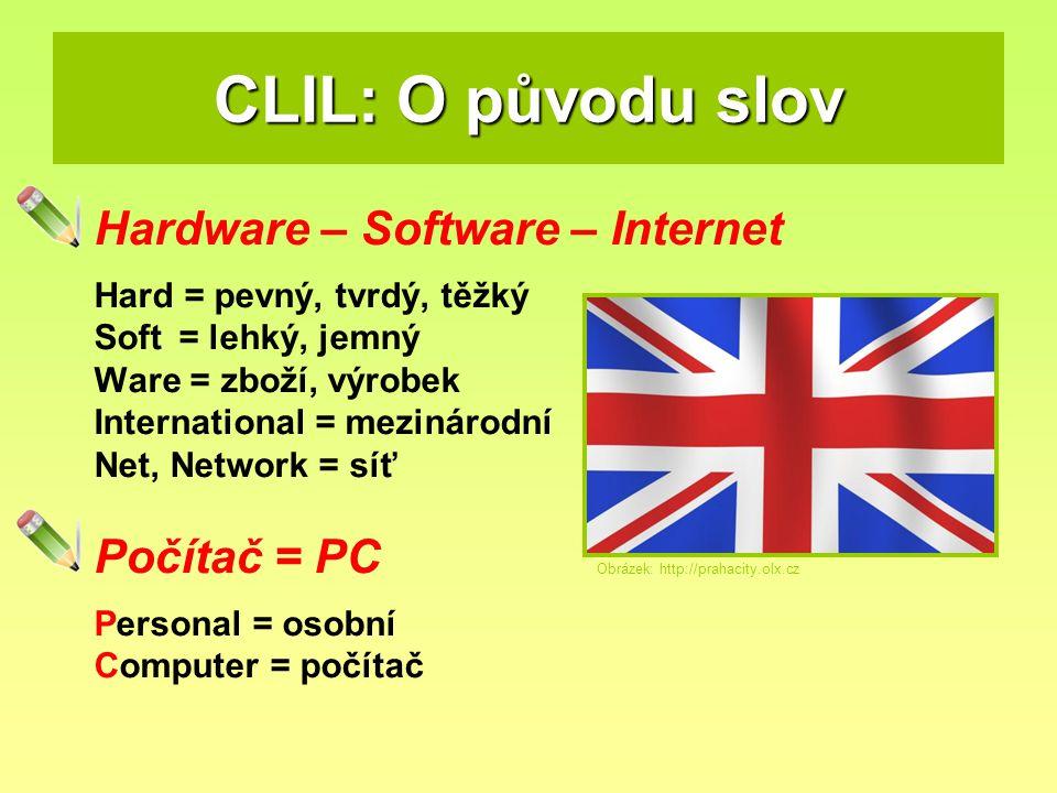 CLIL: O původu slov Hardware – Software – Internet Počítač = PC