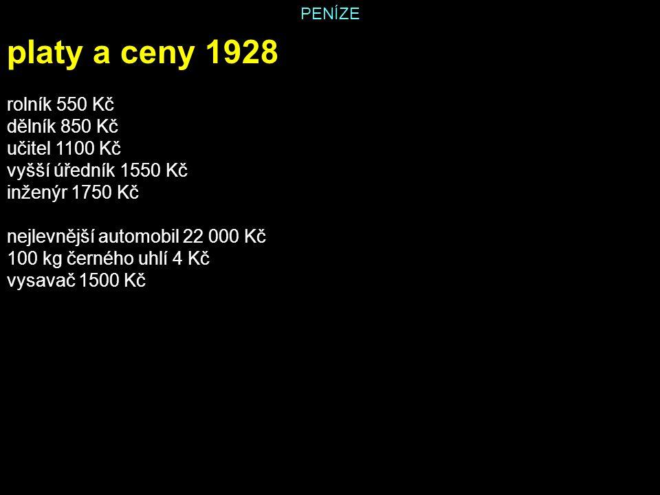 platy a ceny 1928 rolník 550 Kč dělník 850 Kč učitel 1100 Kč
