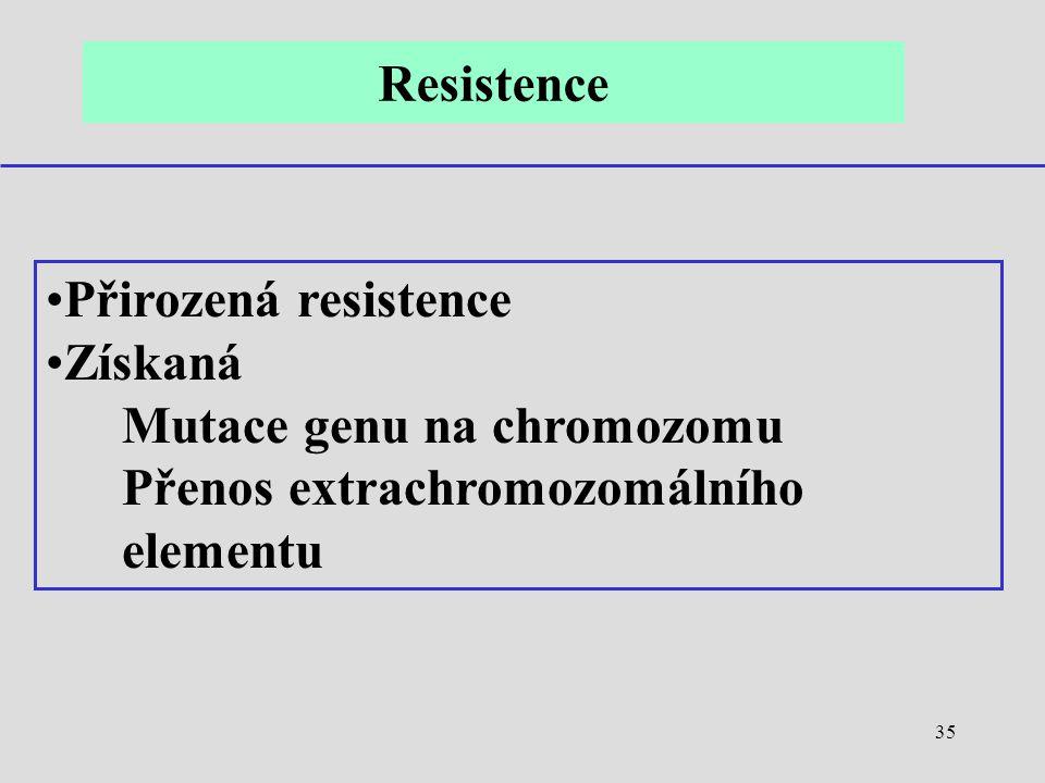 Resistence Přirozená resistence. Získaná. Mutace genu na chromozomu.