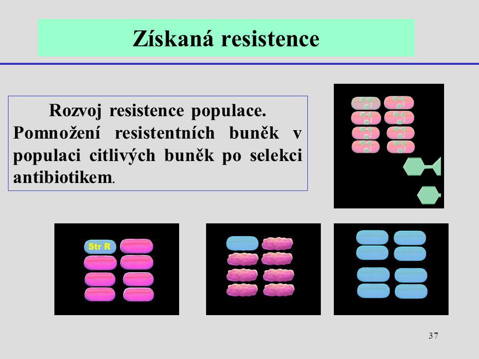 Rozvoj resistence populace.