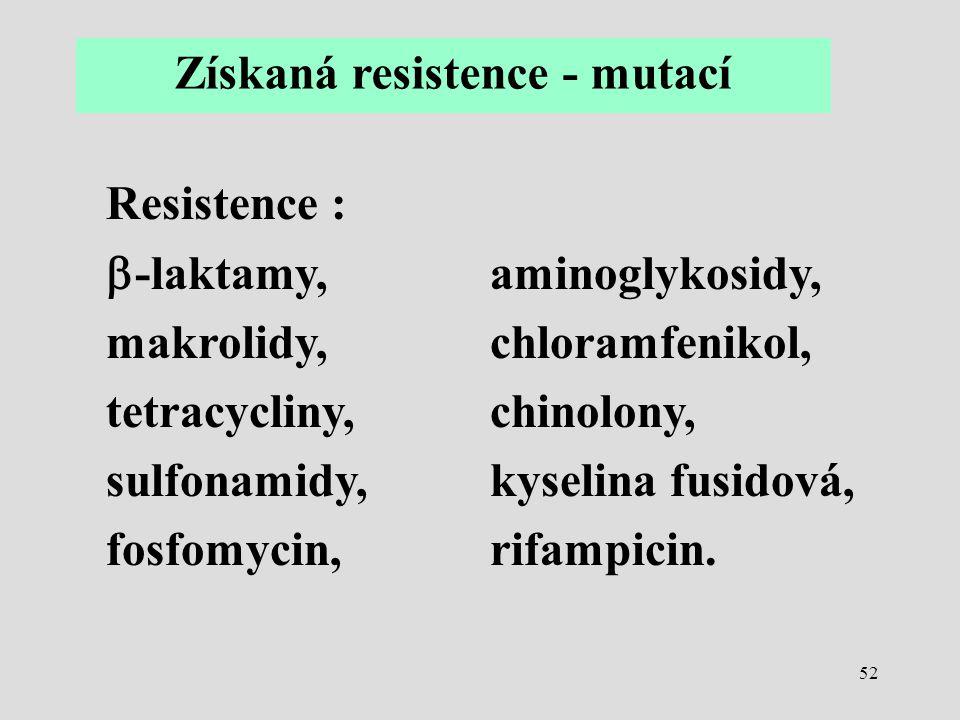 Získaná resistence - mutací