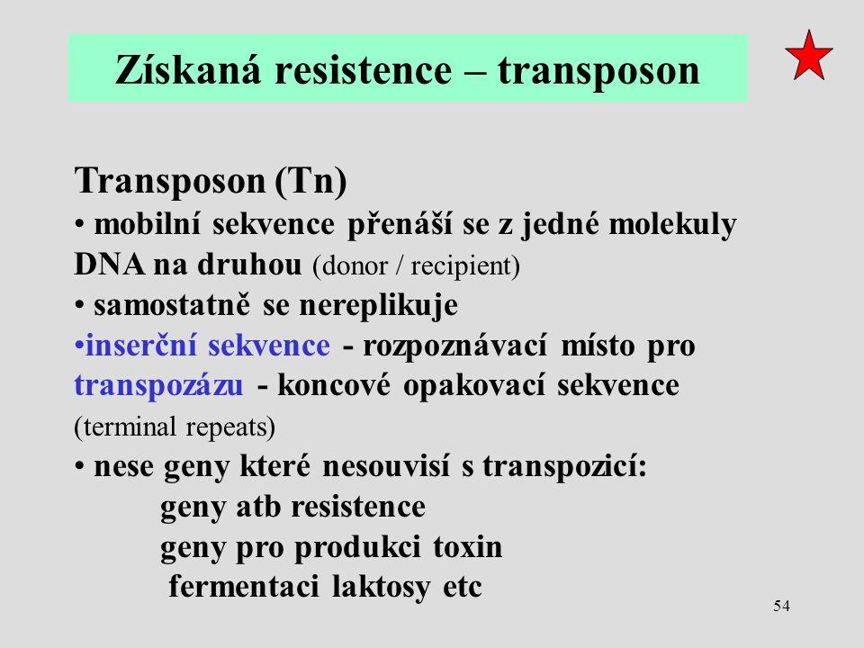 Získaná resistence – transposon