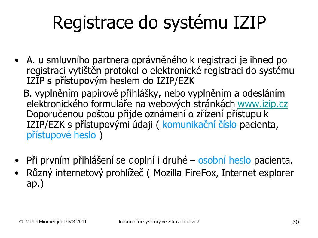 Registrace do systému IZIP