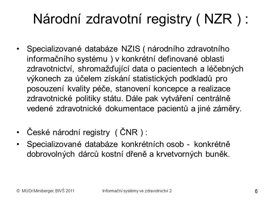 Národní zdravotní registry ( NZR ) :