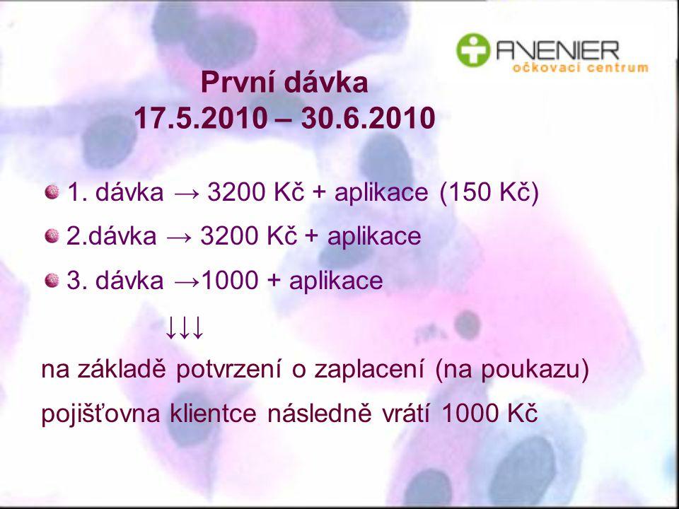 První dávka 17.5.2010 – 30.6.2010 1. dávka → 3200 Kč + aplikace (150 Kč) 2.dávka → 3200 Kč + aplikace.