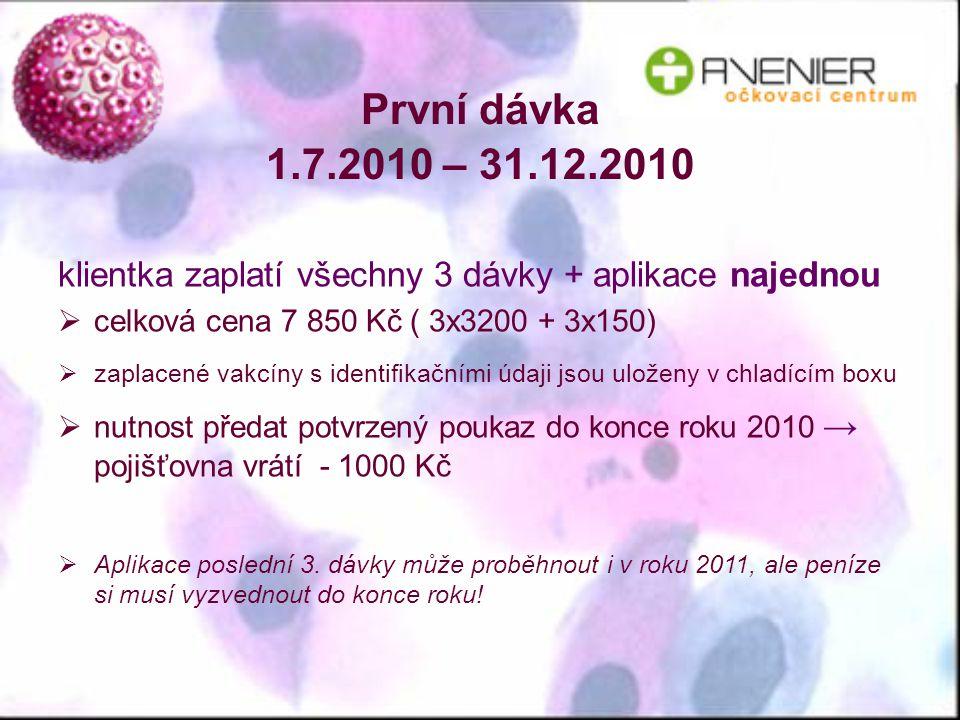 První dávka 1.7.2010 – 31.12.2010 klientka zaplatí všechny 3 dávky + aplikace najednou. celková cena 7 850 Kč ( 3x3200 + 3x150)