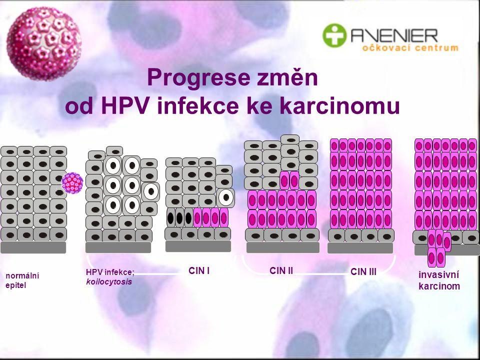 Progrese změn od HPV infekce ke karcinomu