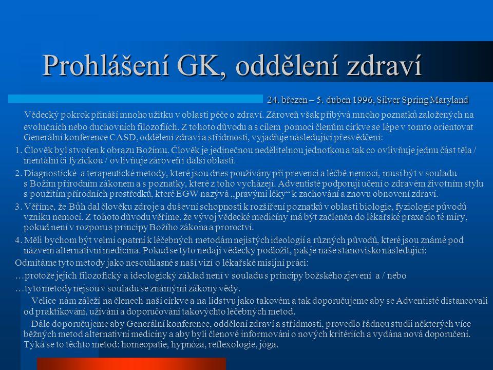 Prohlášení GK, oddělení zdraví