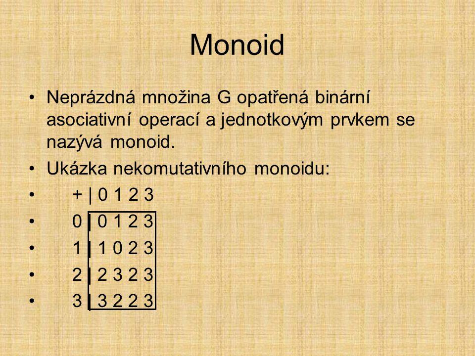 Monoid Neprázdná množina G opatřená binární asociativní operací a jednotkovým prvkem se nazývá monoid.