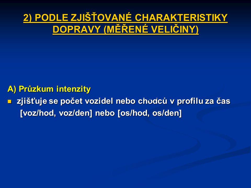 2) PODLE ZJIŠŤOVANÉ CHARAKTERISTIKY DOPRAVY (MĚŘENÉ VELIČINY)