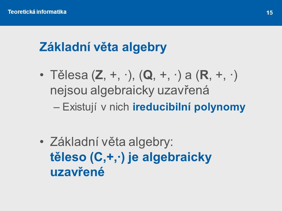 Tělesa (Z, +, ·), (Q, +, ·) a (R, +, ·) nejsou algebraicky uzavřená