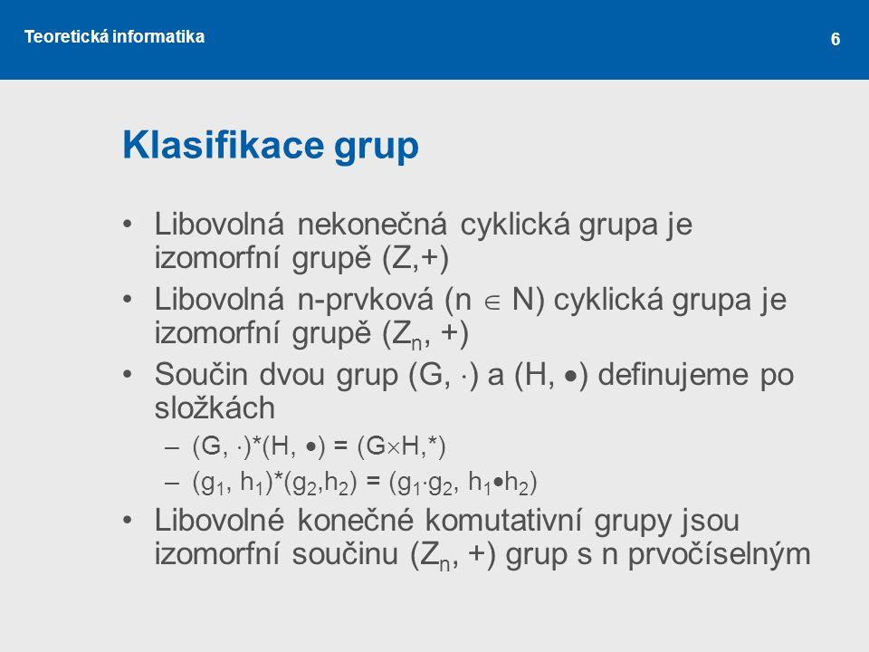 Klasifikace grup Libovolná nekonečná cyklická grupa je izomorfní grupě (Z,+) Libovolná n-prvková (n  N) cyklická grupa je izomorfní grupě (Zn, +)