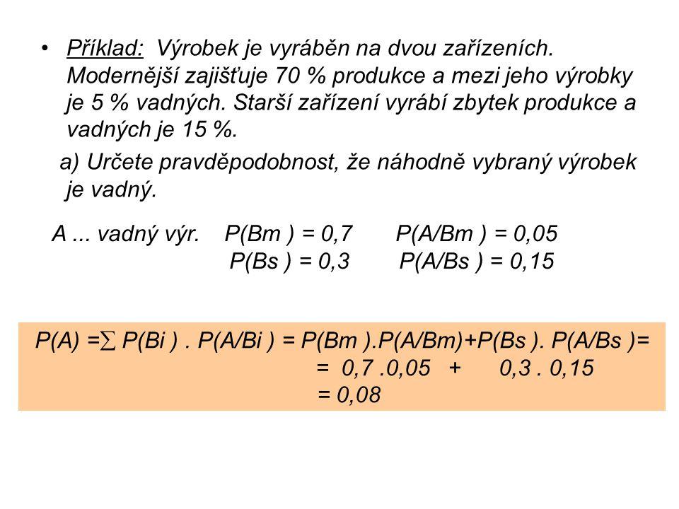 a) Určete pravděpodobnost, že náhodně vybraný výrobek je vadný.