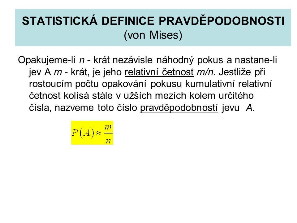 STATISTICKÁ DEFINICE PRAVDĚPODOBNOSTI (von Mises)