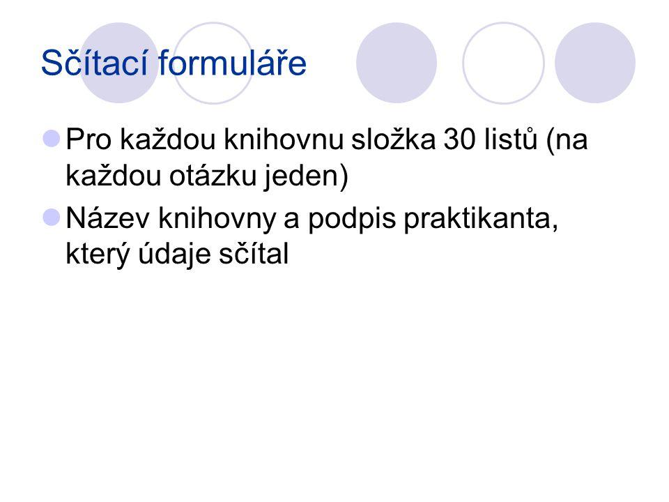 Sčítací formuláře Pro každou knihovnu složka 30 listů (na každou otázku jeden) Název knihovny a podpis praktikanta, který údaje sčítal.