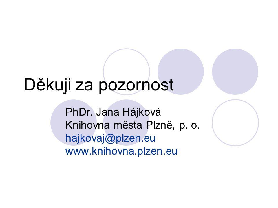 Děkuji za pozornost PhDr. Jana Hájková Knihovna města Plzně, p. o.