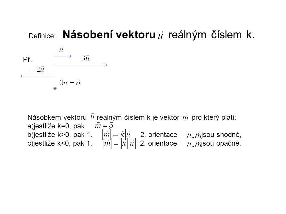 Definice: Násobení vektoru reálným číslem k.