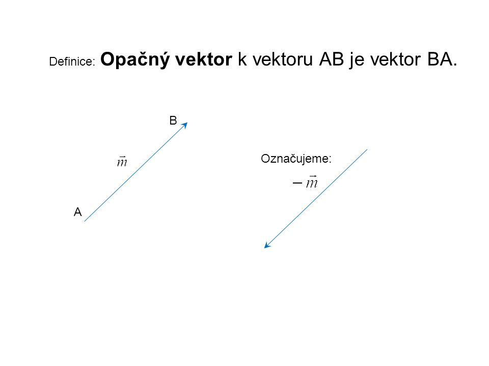 Definice: Opačný vektor k vektoru AB je vektor BA.