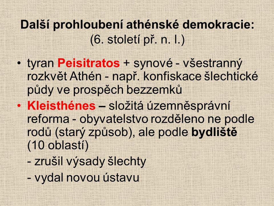 Další prohloubení athénské demokracie: (6. století př. n. l.)