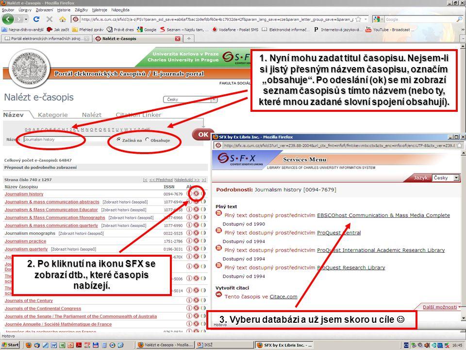 2. Po kliknutí na ikonu SFX se zobrazí dtb., které časopis nabízejí.