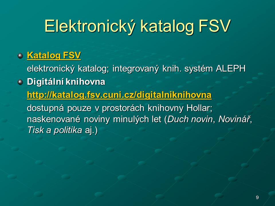 Elektronický katalog FSV