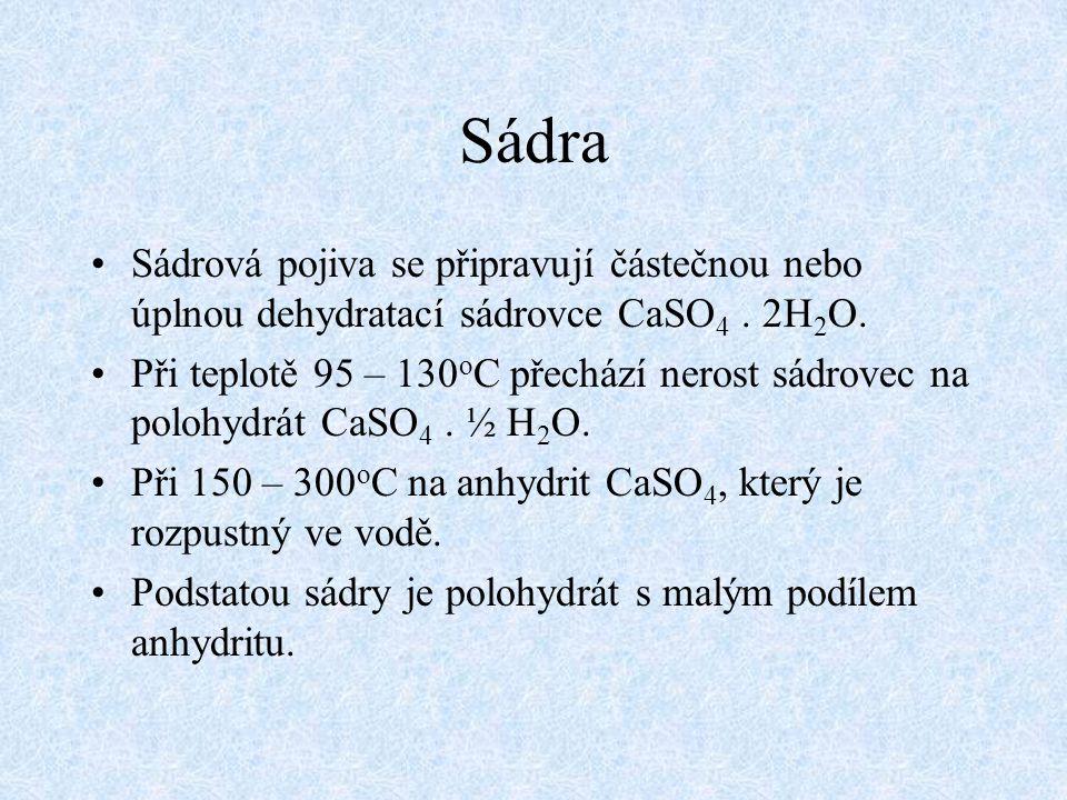 Sádra Sádrová pojiva se připravují částečnou nebo úplnou dehydratací sádrovce CaSO4 . 2H2O.