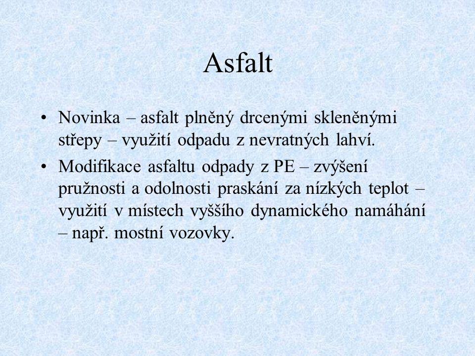 Asfalt Novinka – asfalt plněný drcenými skleněnými střepy – využití odpadu z nevratných lahví.
